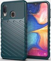 Samsung Galaxy A20e Twill Thunder Texture Back Cover Groen