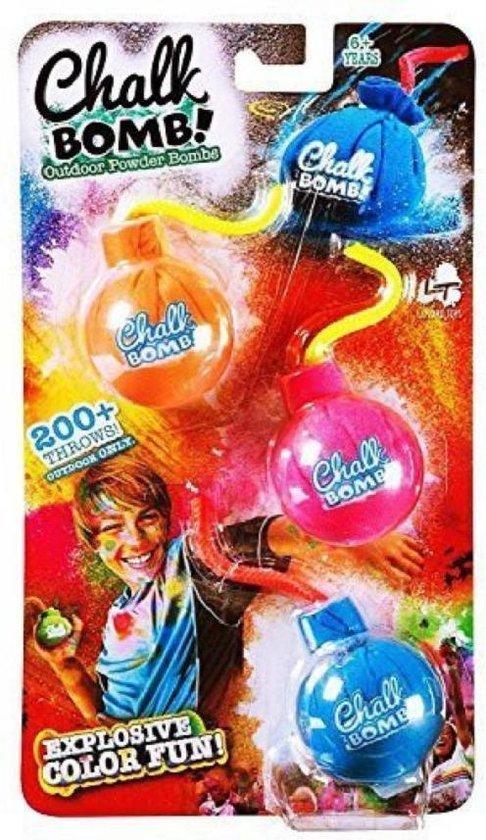 Kids World - 200+ Worpen - Gooi Krijt bommen! Explosieve Kleur Zak Poeder - 3-pack - Speelgoed 6+