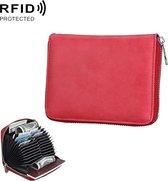 Antimagnetic RFID Multi-functional Genuine Leather Card Package (Red)