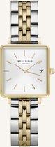 Rosefield The Boxy Xs Dames Horloge - Zilver + Goud Ø22 X 24mm - QMWSSG-Q023