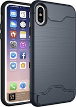 Apple iPhone XR Shockproof Back cover - Donkerblauw - Card Case TPU Siliconen - Hard PC met Kickstand - Kaarthouder