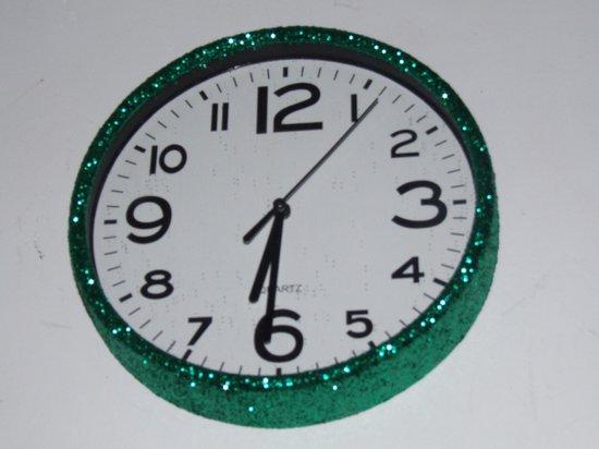 Glitter klok Groen/Wit 30 cm