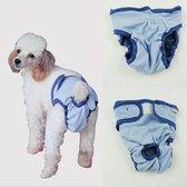 Hondenbroekje - luier voor teef - loopsheid - ongesteldheid - wasbaar - BLUE - LARGE