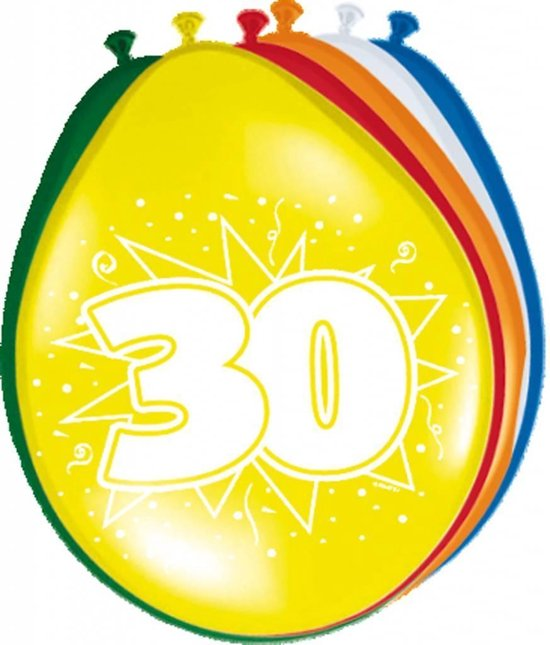 Ballonnen 30 Jaar 30cm 8 stuks