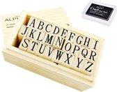 Stempelset alfabet houten doos - A tot Z – letters - Inclusief zwarte stempelkussen