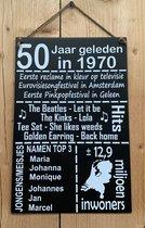 Zinken tekstbord 50 jaar geleden in 1970 - Antraciet
