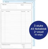 [3 notablokken] A5 Notablok, zelfkopiërend, BTW laag/hoog, gelinieerd, wit/blauw, 50 sets (100 vel)
