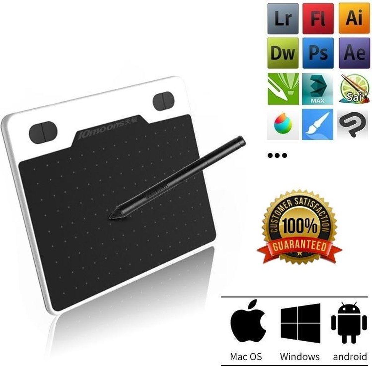 Grafische Tekentablet - 10moons - 8192 Drukniveaus - 4K tekenpen - Creatief - Foto's bewerken - Digitaliseren - Bewegingsresolutie (LPI) 5080 - Gratis opberghoes