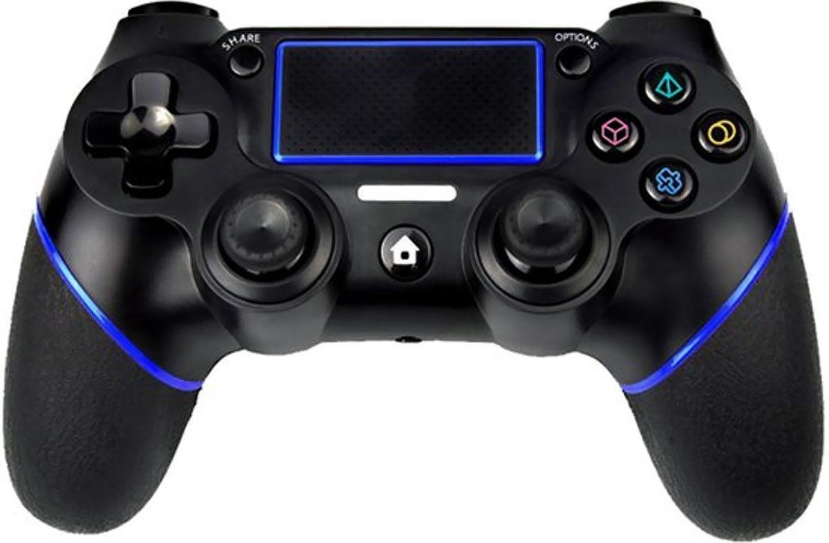 QY PS4-controller – Bluetooth Wireless Double-Shock 4 Controller voor PlayStation 4 - Zwart/Blauw