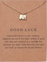 Good Luck Ketting - Olifant hanger aan ketting - Geluksketting - Olifantje