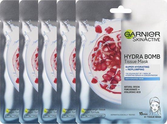 Garnier SkinActive - Hydra Bomb Tissue Masker met Granaatappel - Gezichtsmasker - 5 Stuks - Voordeelverpakking