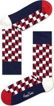 Happy Socks - Filled Optic - Blauw/Wit/Rood - Unisex - Maat 41-46