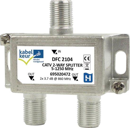 Hirschmann splitter DFC2104 met 2 uitgangen - 3,7 dB / 5-1250 MHz