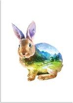 Kinderkamer poster Konijn DesignClaud - Waterverf stijl - A4 + Fotolijst wit
