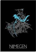 DesignClaud Nijmegen Plattegrond poster Zwart A4 poster (21x29,7cm)