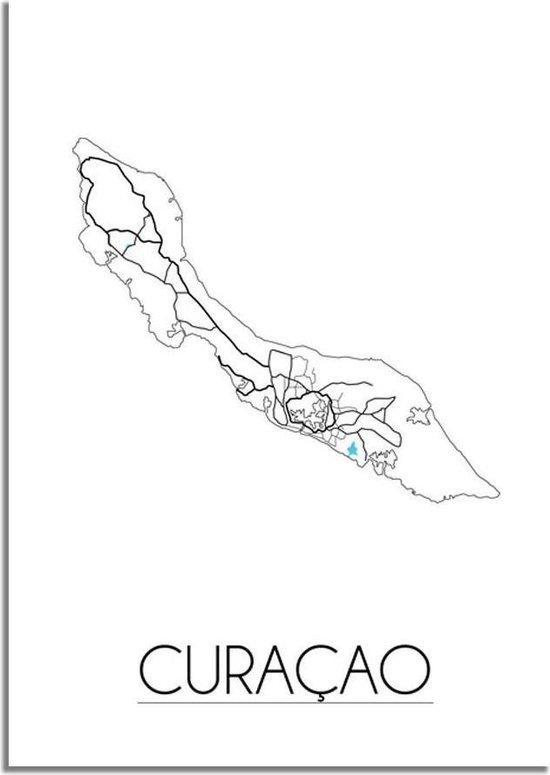 Plattegrond Curacao Stadskaart Poster DesignClaud - Wit - B2 poster