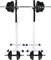 vidaXL Halter-/squatrek met halterset 60.5 kg