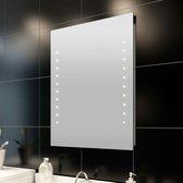 vidaXL - Badkamerspiegel met LED verlichting - Spiegel - Glas - 80x60 cm - Transparant