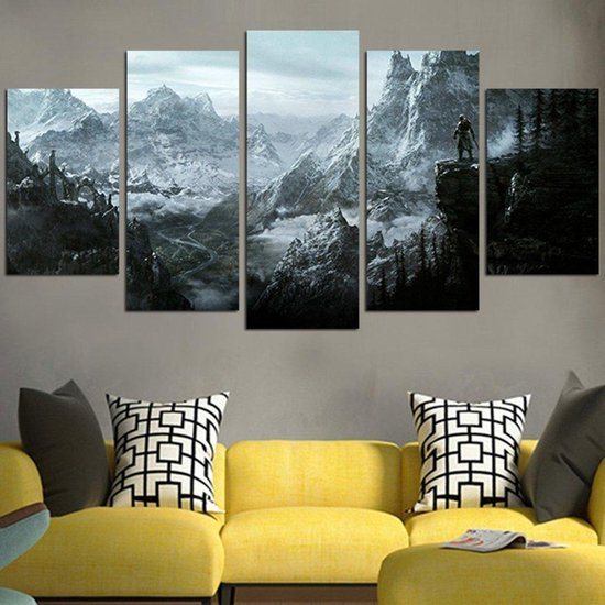 Bol Com Skyrim The World Lays At Your Feet Vijf Delige Canvas Wall Art Muurdecoratie