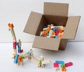 Houten plankjes speelgoed van eco vriendelijk hout. Grote set, 260 blokken. Geschikt voor een gezin met meerdere kinderen, opvang of (montessori) scholen.