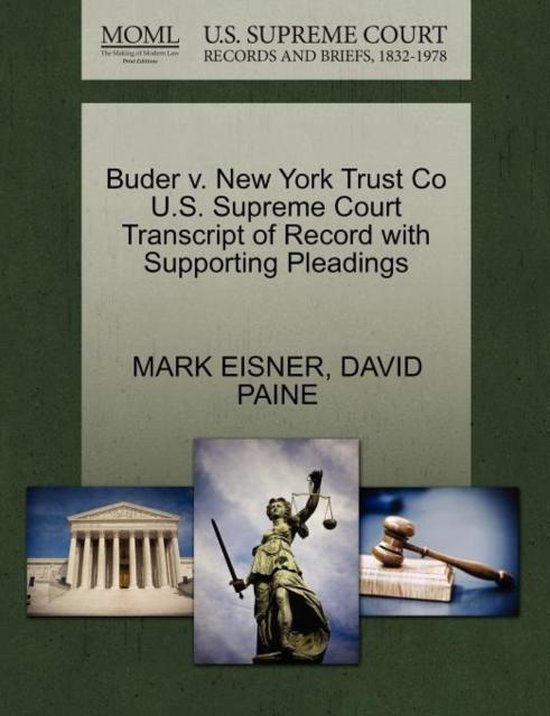 Boek cover Buder V. New York Trust Co U.S. Supreme Court Transcript of Record with Supporting Pleadings van Mark Eisner (Paperback)