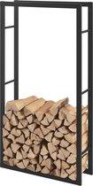 Stalen brandhoutrek houtopslag zwart 80x150x25 cm