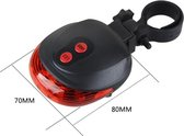 Fiets Achterlicht Achter Lamp - LED Fiets verlichting - Incl. laser - Fiets Racefiets Mountainbike - Afneembaar - Rood
