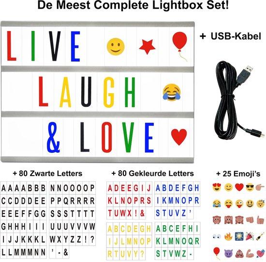 Hillvik Lightbox LED A5 - incl. USB-kabel - 80 Zwarte en 80 Gekleurde Letters en Symbolen - 25 Emoji's