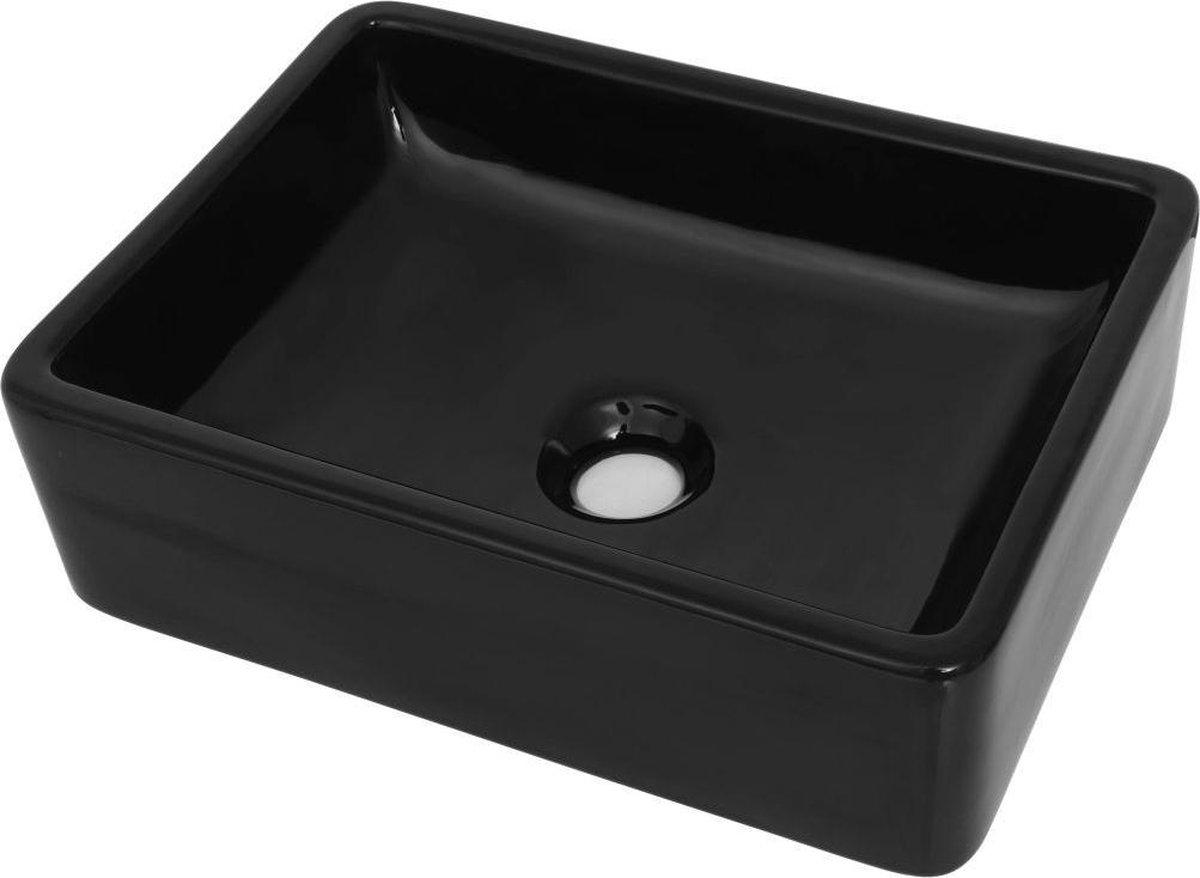 Wasbak waskom badkamer wastafel rechthoek zwart