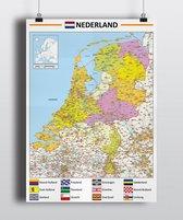 Poster kaart Nederland - 70x100cm