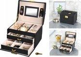 Luxe Sieradenbox Met Spiegel - Bijouteriedoos Opbergbox - Juwelen Opbergdoos - Kunst Leder Zwart