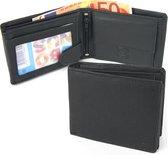 Businessme Portemonnee Heren - Kleine Billfold - Zwart - Leer - RFID - 8 pasjes