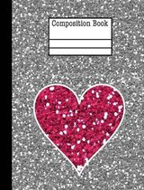 Glitter Heart Composition Notebook - College Ruled