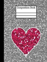 Glitter Heart Composition Notebook - Wide Ruled