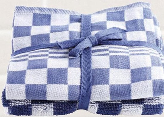 Keukenset, Blauw en Wit Geblokt, 2 Stuks Theedoeken, 65x65cm + 2 Stuks Handdoeken, 50x50cm, Treb Towels