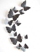 3D Vlinders Muurstickers (Zwart) - Vlinder Muursticker