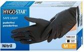 Hygostar handschoenen nitril poedervrij zwart maat M - 100 stuks