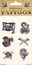 Piraten tattoos 6 stuks