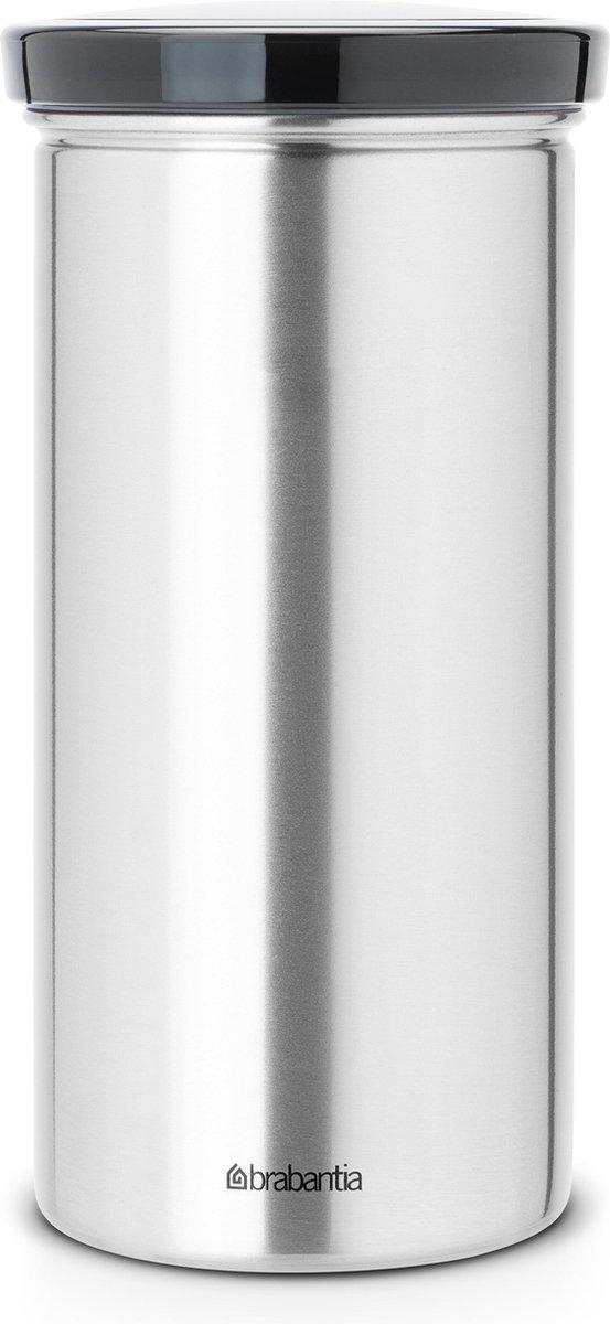 Brabantia Voorraadbus voor 18 Koffie- en Theepads - Matt Steel Fingerprint Proof/Grijs
