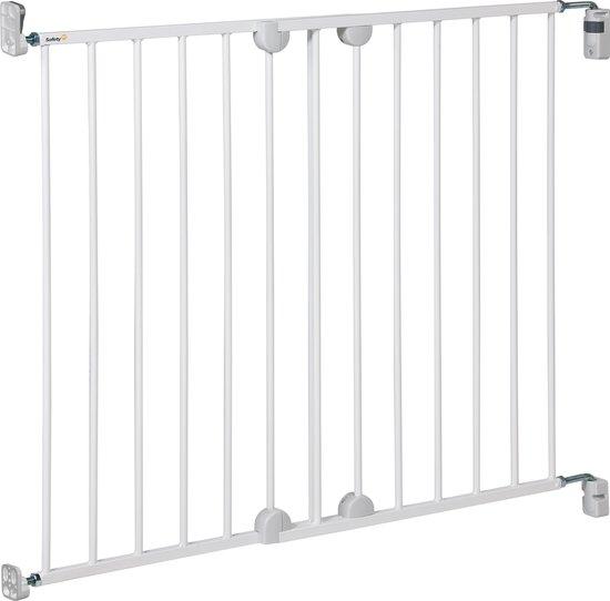 Product: Safety 1st Wall Fix Extending Metal Gate Traphekje - 62-102 cm  - Wit, van het merk Safety 1st
