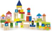 Viga Toys - Bouwblokken in ton - Stad - 75 stuks
