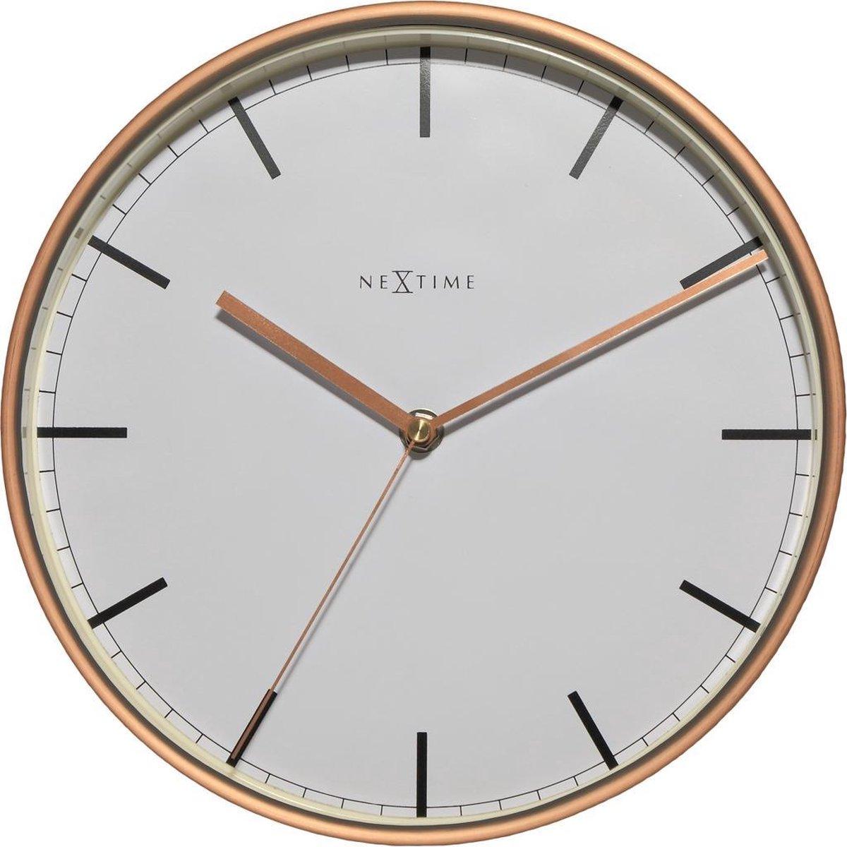 NeXtime Company Copper - Klok - Rond - Metaal / Glas - Ø30 cm - Wit/ Koperkleurig - NeXtime
