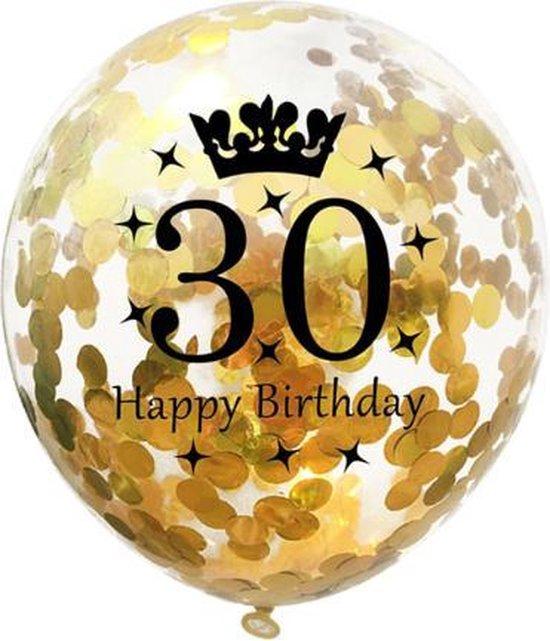 30 Jaar Ballonnen Set - Confetti - 5 stuks - Verjaardag Feest - Versiering - Goud - 30cm