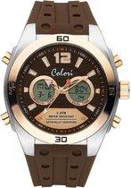 Colori Continental 5 CLD118 Digitaal Horloge - Siliconen Band - Ø 48 mm - Bruin