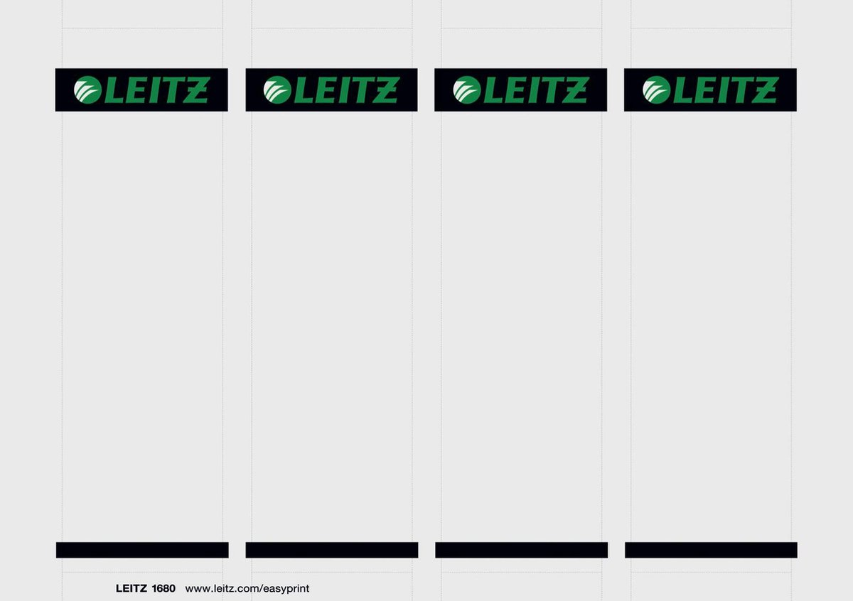 Leitz PC Printbare Rugetiketten voor Kunststof Ordners - 100 stuks - Breed en kort - Grijs