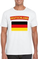 T-shirt met Duitse vlag wit heren 2XL