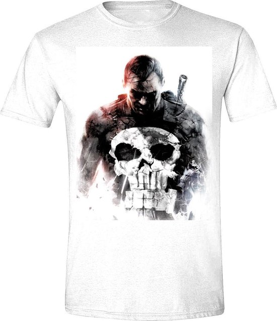 The Punisher - Smoke Mannen T-Shirt - Wit - S