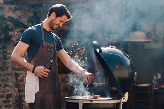 Leren Schort Zwart SPATLAP – Koken – BBQ – housewarming cadeau man