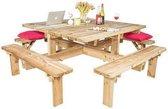 Picknicktafel |Vierkant 8 Persoons Tuintafel 210cm x 210cm