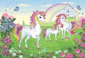 Fotobehang Unicorns XXL – kinderkamer – posterbehang – behang eenhoorns - 368 x 254 cm – roze - groen